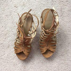 Stuart Weitzman suede lace up front heels